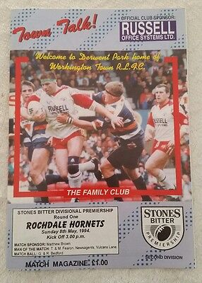 27/02/1994 Rugby League Programme: Workington Town v Rochdale Hornets