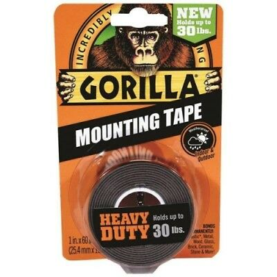 """Gorilla 6055001-6 Double-Sided Heavy Duty Mounting Tape , 1"""" x 60"""", Blac"""
