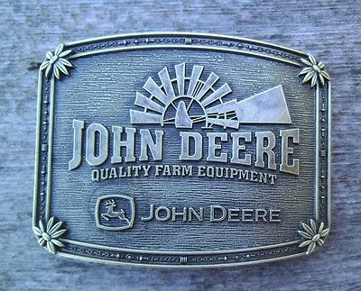 John Deere Tractor Belt Buckle Bronze NEW #3