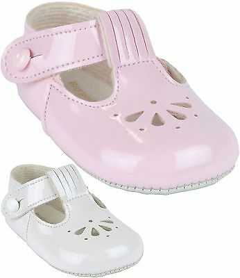 BabyPrem Baby Girls Classic Fan T-Bar BayPods Pram Shoes White Pink 0 -18 months