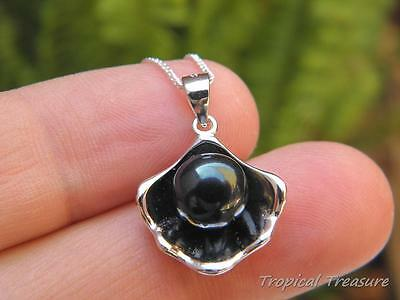 10mm BLACK Oyster Pearl Pendant & 45cm 925 SOLID Silver chain