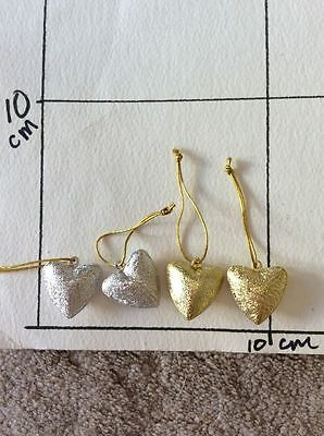 4x Heart Hanging Jingle Bells Silver Gold by Hobby Craft