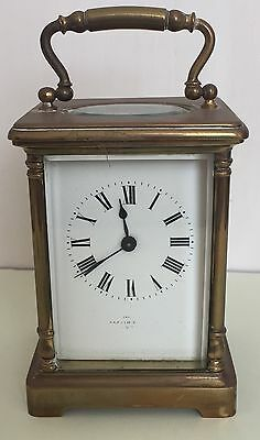 "French Brass Case Timepiece white enamel dial Carriage Clock , c1900 GWO 4.5""H"