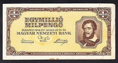 Hungary 1000000 Pengo 1946 F-VF P.128, Banknotes, Circulated