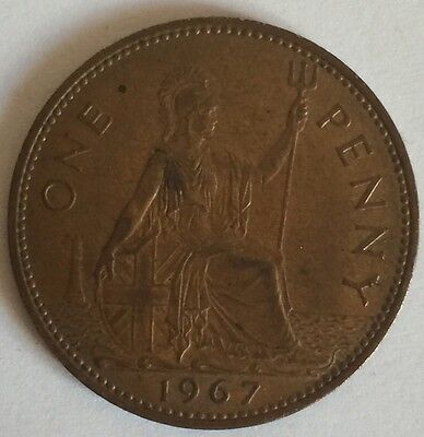 1967 - Copper - One Penny - Great Britain - Elizabeth II - English UK Coin (2)