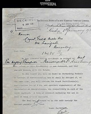 1938 The Buenos Ayres & Pacific Railway Company Letter