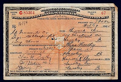 Antique Whiskey Prohibition Prescription Doctor Pharmacy PA Inn B & B Bar 1925