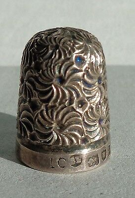 Thimble 925 Sterling SIlver FLORAL pattern fully hallmarkedr B F 1860's