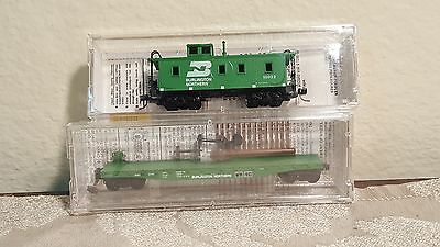 Micro trains N set of 2 Burlington Northern Caboose 51090 & Flat Car 45200 NIB