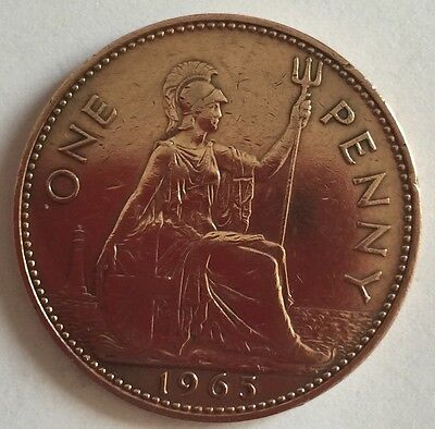 1965 - Copper - One Penny - Great Britain - Elizabeth II - English UK Coin (1)