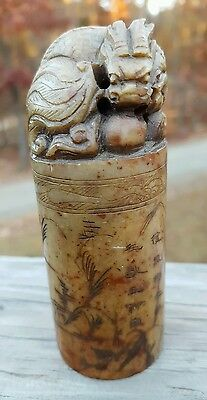 Old Chinese Dragon Seal Stamp Hand Carved Vintage Antique Asian Stone