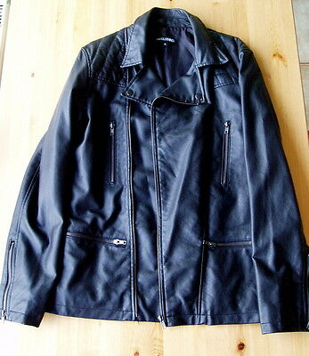MENS / WOMENS UNISEX    FAUX  LEATHER JACKET   MEDIUM  Removable  collar