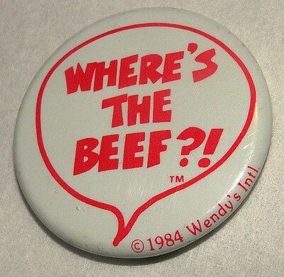 """Vintage 1984 """"WHERE'S THE BEEF?!"""" fast food advertising WENDY'S PINBACK BUTTON"""