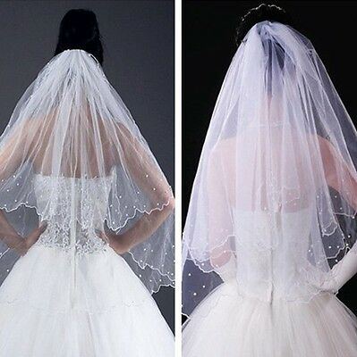 Veil Wedding 2T On Comb - Bridal Pearl Lace White Satin Edge - Brand New from UK