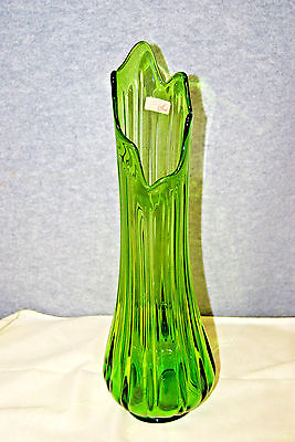 "SMITH Vintage GREEN Art Glass Stretch 20"" Tall Floor Vase (#M4249)"