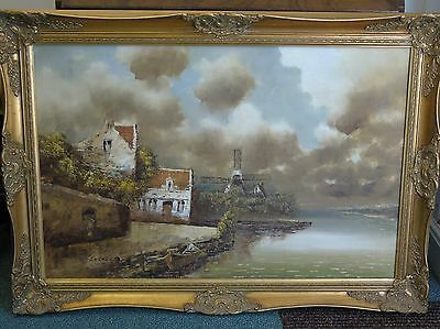 Large Gilt Framed Oil on Canvas Dutch Windmill Scene Signed I. Costello