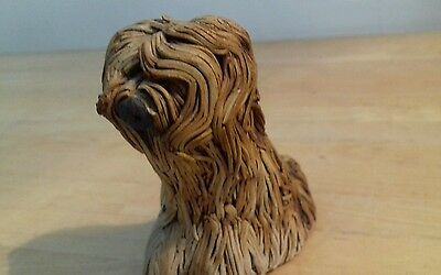 Hand made pottery art Shaggy dog