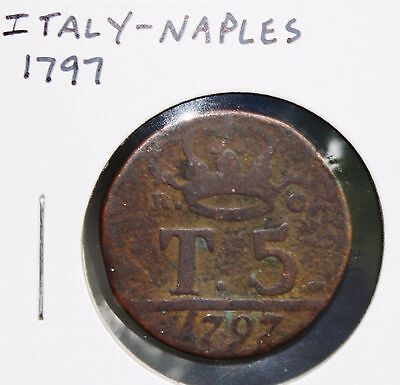 Italy - Naples - 1797 - 5 Tornesi - KM# 222 - Copper coin - Circulated