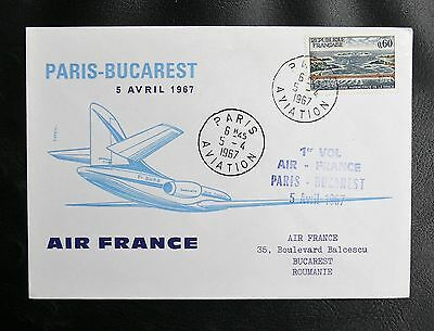 Vol Air France Paris / Bucarest - 5 Avril 1967 - Tbe