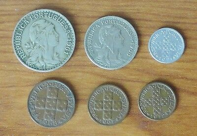 6 Portugal Coins 1960's/70's