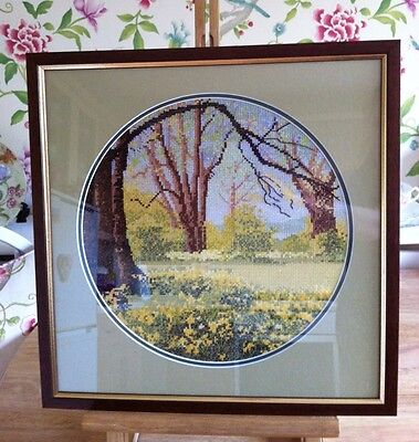 Spring Primrose Woodland Cross Stitch / Embroidery Picture Mounted And Framed