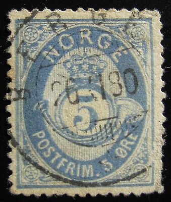 NORWAY - Sc #4e – 5o – DULL BLUE – 1877 – USED – PF CERTIFIED