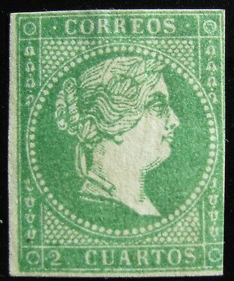 MAKE AN OFFER - SPAIN - Sc #44 – 2c – BLUE GREEN – 1856 – UNUSED – PF CERTIFIED