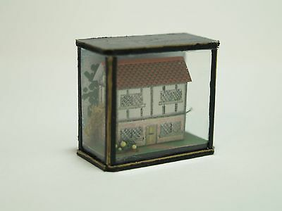 Dolls House Miniature Handmade House in 'Glass' Display Case in 1:12 Scale
