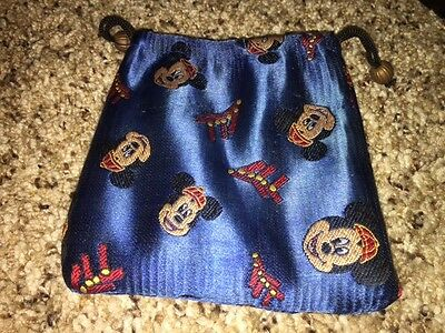 "Disney Mickey Mouse Coin Bag - Blue - 4"" x 4"" - Drawstring Purse Pouch Shiny"