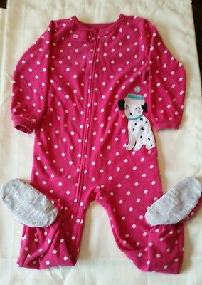 Girls Size 4T Pink with White Polka Dot One Piece Sleeper by Carter's