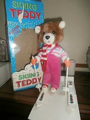 Battery Operated Musical Skiing Teddy Bear (1987)  RARE