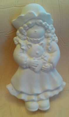 Unpainted ceramic bisque sweet girl with cat