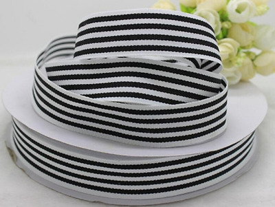"""1m Black and White Stripe Pencil / Candy Stripe Double Sided Ribbon 1"""" 25mm wide"""