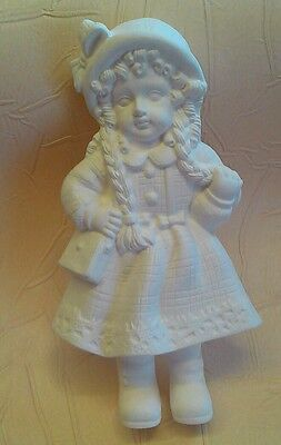 Unpainted ceramic bisque sweet  girl with bag