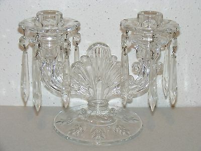 Antique crystal etched glass candlesticks 2 candle holder chandelier prisms ~H
