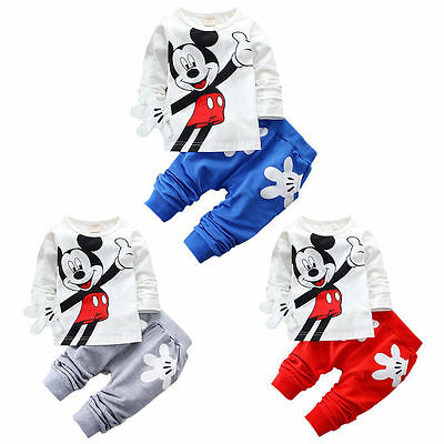 baby boys toddler infant kids clothes tops Tee & pants outfits set cartoon A10
