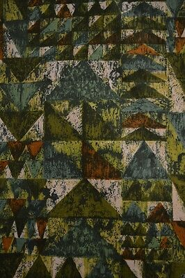 Vintage Striking Green/Brown Abstract Fabric Remnant - 3.34 Yards