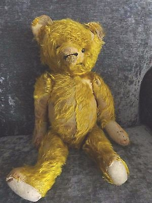 """Antique teddy bear, straw stuffed, fully jointed 20"""" tall, shoe button eyes"""