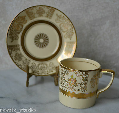 VICTORIAN by Johnson Bros. England 2 pc COFFEE CUP SET, Ivory Golden Chintz