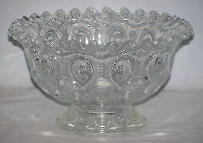L E Smith Clear Glass Footed Bowl Moon And Stars Pleated Edge
