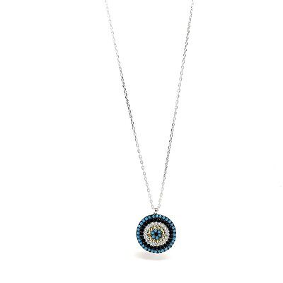 Women Jewellery 925 Sterling Silver Necklace Round Pendant. Luxurious Gift Box