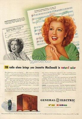 1944 General Electric~GE FM Radio Jeanette MacDonald Ad MMXV
