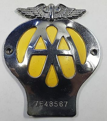 Alte Auto-Plakette Badge - Automobile Association London mit Mitgliedsnummer(50)