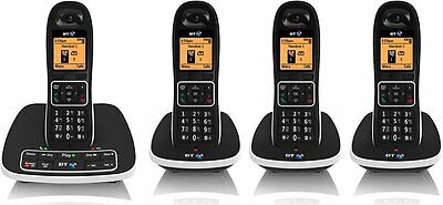 BT Digital Cordless DECT Phones Set Home Quad Telephones with Answering Machine