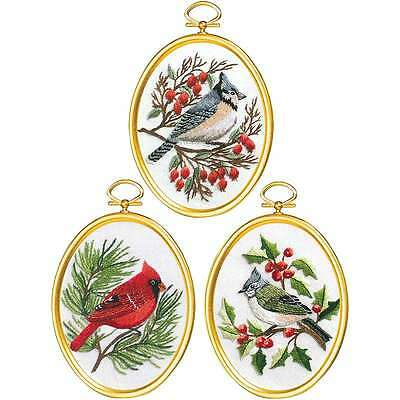 Winter Birds Embroidery Kit Set Of 3-3 Inch X 4 Inch Stitched In F 049489009722