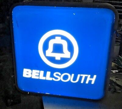 Vintage BELLSOUTH PAYPHONE SIGN  ILLUMINATED 23 inch x 23 inch lot 50