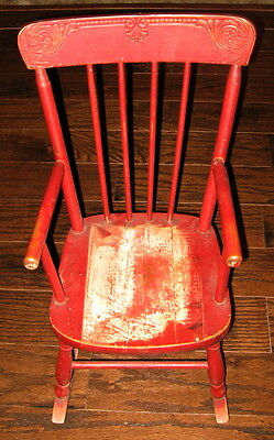 """Antique painted press back childs rocking chair rough sawn 22.5"""" tall"""