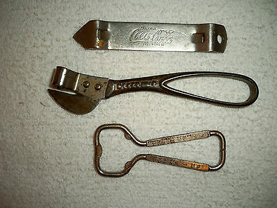 Vintage Lot 3 Soda Bottle/Can Openers Have A Coke/Drink Coca Cola and 2 Seven-Up