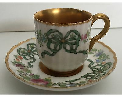 Antique Royal Worcester Miniature Cup and Saucer HP Heavy Gold