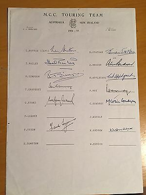 1954-55 MCC ashes Signed Official team Sheet x 12 members of australia tour